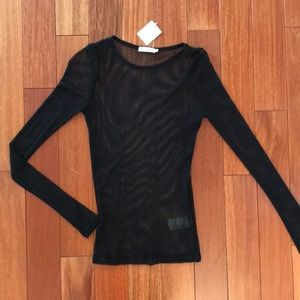 Urban Outfitters Black Mesh Long Sleeve
